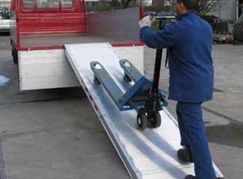 Aluminium oprijplaat geschikt met palletwagen