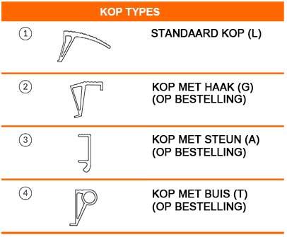 Verschillende verkrijgbare uitvoeringen van de eindkop van Metalmec oprijplaten